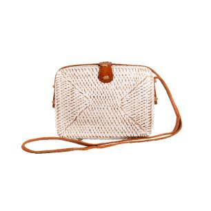 Τσάντα RATTAN χειροποίητη τετράγωνη άσπρη MCA.041