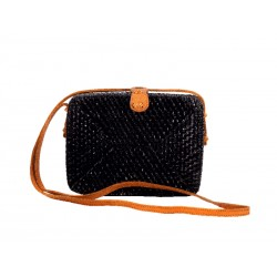 Τσάντα RATTAN χειροποίητη τετράγωνη μαύρη MCB.041