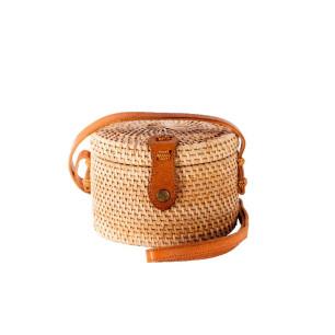 Τσάντα RATTAN χειροποίητη Κύβος Φυσικό χρώμα MC.042