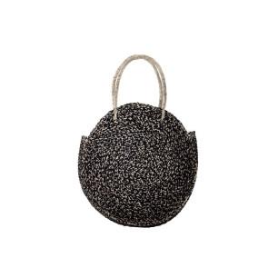 Τσάντα SEAGRASS χειροποίητη στρογγυλή μαύρη NBA.003