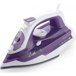 Life Silky purple Steam Iron 2400W with ceramic soleplate 2.50m SI-100