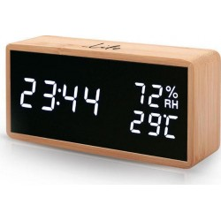 Life Noble Bamboo Thermometer/hygrometer with clock, alarm and LED digits WES-108