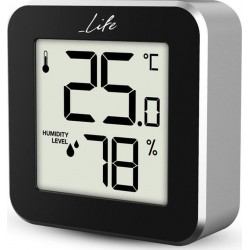 Life Alu Mini Thermometer with hygrometer Black/aluminum WES-109