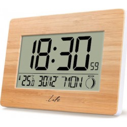 Life Rainforest Bamboo Edition Weather station with adaptor and wireless outdoor sensor clock and alarm