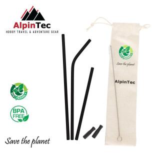 Alpintec S-04-1 Καλαμάκια Mαύρα σετ 3τμχ