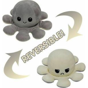 Λούτρινο χταπόδι reversible octopus, αλλάζει διάθεση με μία κίνηση (Γκρι-Κρεμ)