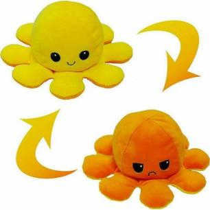 Λούτρινο χταπόδι reversible octopus, αλλάζει διάθεση με μία κίνηση (Πορτοκαλί-Κίτρινο)